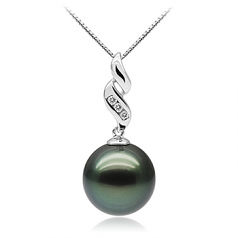 10-10.5mm AAA Quality Tahitian Cultured Pearl Pendant in Seductive Black