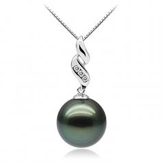10-10.5mm AAA Quality Tahitian Cultured Pearl Pendant in Seductive Black