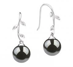9-10mm AAA Quality Tahitian Cultured Pearl Earring Pair in Honora Black