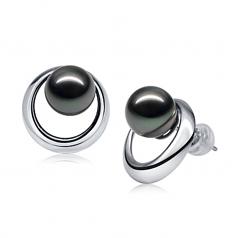 9-10mm AAA Quality Tahitian Cultured Pearl Earring Pair in Rising Sun Black
