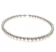 8.5-9.5mm AA Quality Freshwater Cultured Pearl Necklace in Drop White
