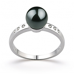 7.5-8mm AAA Quality Japanese Akoya Cultured Pearl Ring in Cecelia Black