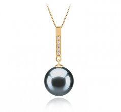 10-11mm AAA Quality Tahitian Cultured Pearl Pendant in Janet Black