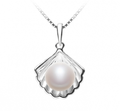 7-8mm AA Quality Freshwater Cultured Pearl Pendant in Shell White