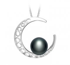 9-10mm AAA Quality Freshwater Cultured Pearl Pendant in Moon Black