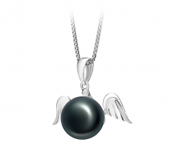 9-10mm AA Quality Freshwater Cultured Pearl Pendant in Angel Black