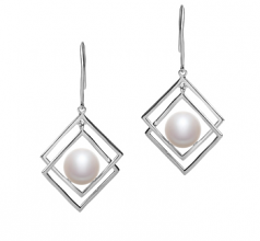 8-9mm AAA Quality Freshwater Cultured Pearl Earring Pair in Lilian White