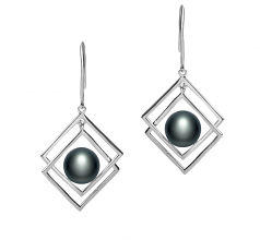 8-9mm AAA Quality Freshwater Cultured Pearl Set in Lilian Black