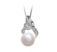 10-11mm AAA Quality Freshwater Cultured Pearl Pendant in Bebra White