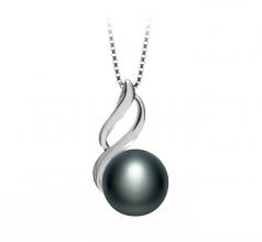 10-11mm AAA Quality Freshwater Cultured Pearl Pendant in Adalia Black