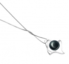10-11mm AAA Quality Freshwater Cultured Pearl Pendant in Freda Black