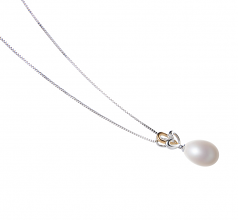 10-11mm AA - Drop Quality Freshwater Cultured Pearl Pendant in Aida White