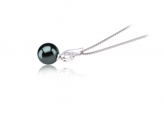 9-10mm AAA Quality Tahitian Cultured Pearl Pendant in Courtney Black