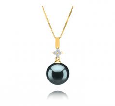 10-11mm AAA Quality Tahitian Cultured Pearl Pendant in Hilda Black