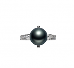 8-9mm AAA Quality Freshwater Cultured Pearl Ring in Erica Black