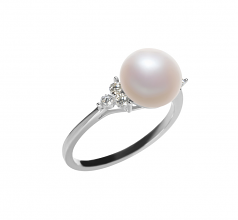 8-9mm AAA Quality Freshwater Cultured Pearl Ring in Dacey White