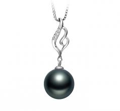 10-11mm AAA Quality Tahitian Cultured Pearl Pendant in Loretta Black