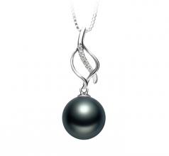 10-11mm AAA Quality Tahitian Cultured Pearl Pendant in Leah Black