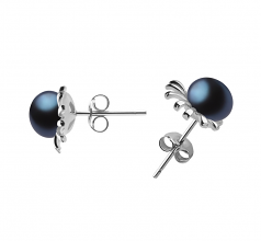 7-8mm AA Quality Freshwater Cultured Pearl Earring Pair in Marissa Black