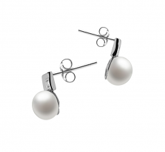 8-9mm AAA Quality Freshwater Cultured Pearl Earring Pair in Lolly White