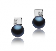 8-9mm AAA Quality Freshwater Cultured Pearl Earring Pair in Lolly Black