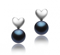 8-9mm AAA Quality Freshwater Cultured Pearl Earring Pair in Heart Black