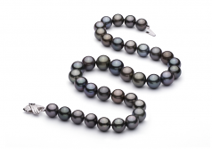 11.1-13.5mm AA+ Quality Tahitian Cultured Pearl Necklace in Multicolor