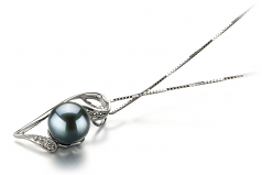 7-8mm AAA Quality Japanese Akoya Cultured Pearl Pendant in Carlin Black