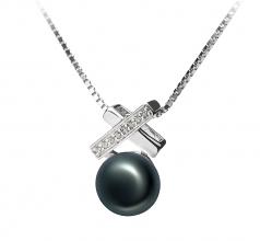 7-8mm AAA Quality Freshwater Cultured Pearl Pendant in Klarita Black