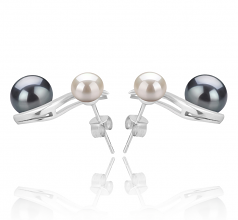5-8mm AA Quality Freshwater Cultured Pearl Earring Pair in Elida Black