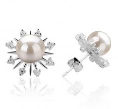 7-8mm AAAA Quality Freshwater Cultured Pearl Earring Pair in Natasha White