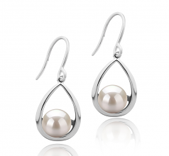 7-8mm AAAA Quality Freshwater Cultured Pearl Earring Pair in Marcia White