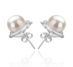 8-9mm AAAA Quality Freshwater Cultured Pearl Earring Pair in Alba White