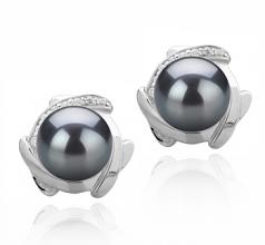 8-9mm AAAA Quality Freshwater Cultured Pearl Earring Pair in Alba Black