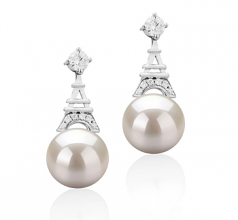 8-9mm AAAA Quality Freshwater Cultured Pearl Earring Pair in Eiffer-Tower White