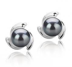 8-9mm AAA Quality Tahitian Cultured Pearl Earring Pair in Eva Black