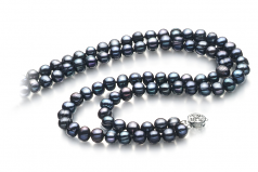 6-7mm A Quality Freshwater Cultured Pearl Necklace in Eliana Black