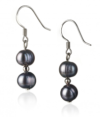 6-7mm A Quality Freshwater Cultured Pearl Set in Julika Black