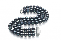6-7mm AA Quality Freshwater Cultured Pearl Bracelet in Medina Black