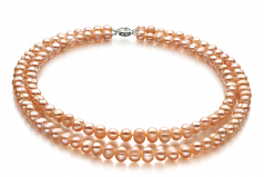 6-7mm A Quality Freshwater Cultured Pearl Set in Kayra Pink