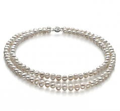 6-7mm A Quality Freshwater Cultured Pearl Necklace in Julienne White