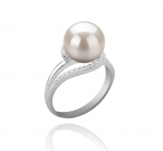 9-10mm AAAA Quality Freshwater Cultured Pearl Ring in Royisal White