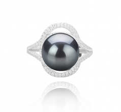 10-11mm AAA Quality Tahitian Cultured Pearl Ring in Maddie Black