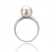 8-9mm AAAA Quality Freshwater Cultured Pearl Ring in Mada White