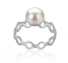 7-8mm AAAA Quality Freshwater Cultured Pearl Ring in Wave White