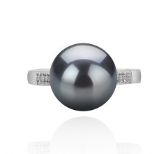 10-11mm AAAA Quality Freshwater Cultured Pearl Ring in Oana Black