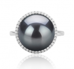 12-13mm AA Quality Tahitian Cultured Pearl Ring in Yanaka Black