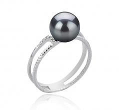 8-9mm AAA Quality Japanese Akoya Cultured Pearl Ring in Rahara Black