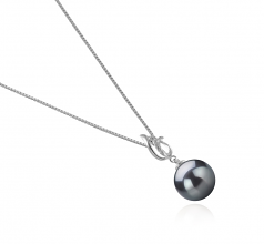 9-10mm AAA Quality Tahitian Cultured Pearl Pendant in Edna Black