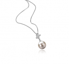 7-8mm AA Quality Japanese Akoya Cultured Pearl Pendant in Coralie White